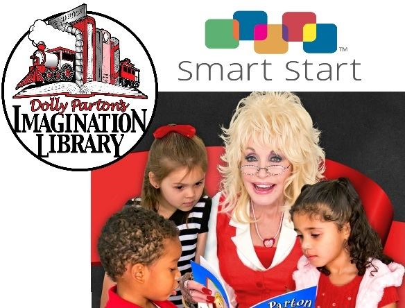 Image of Dolly Parton reading to children