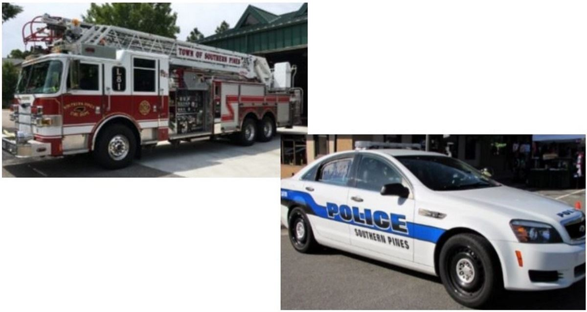 Image of a fire truck and a police car