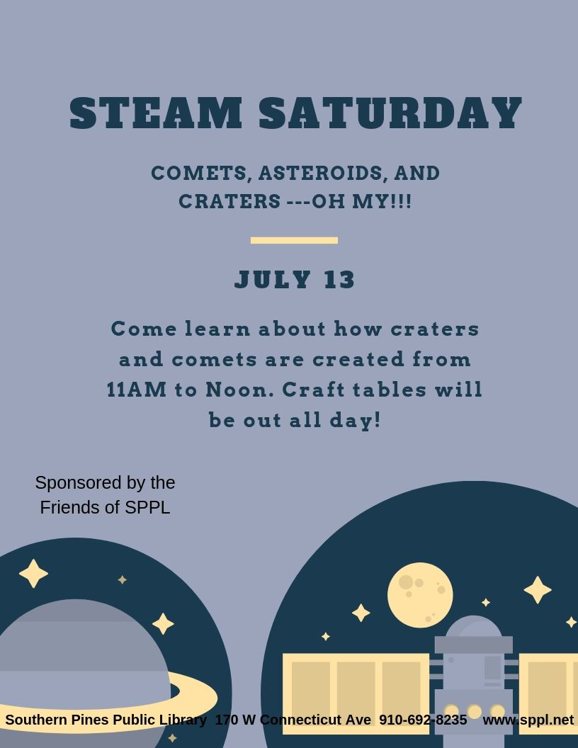 Flier for STEAM Saturday: Craters